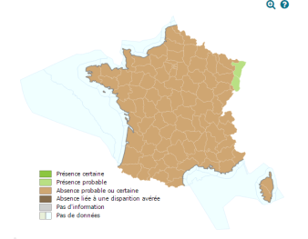 Aire de répartition du Cricetus en France